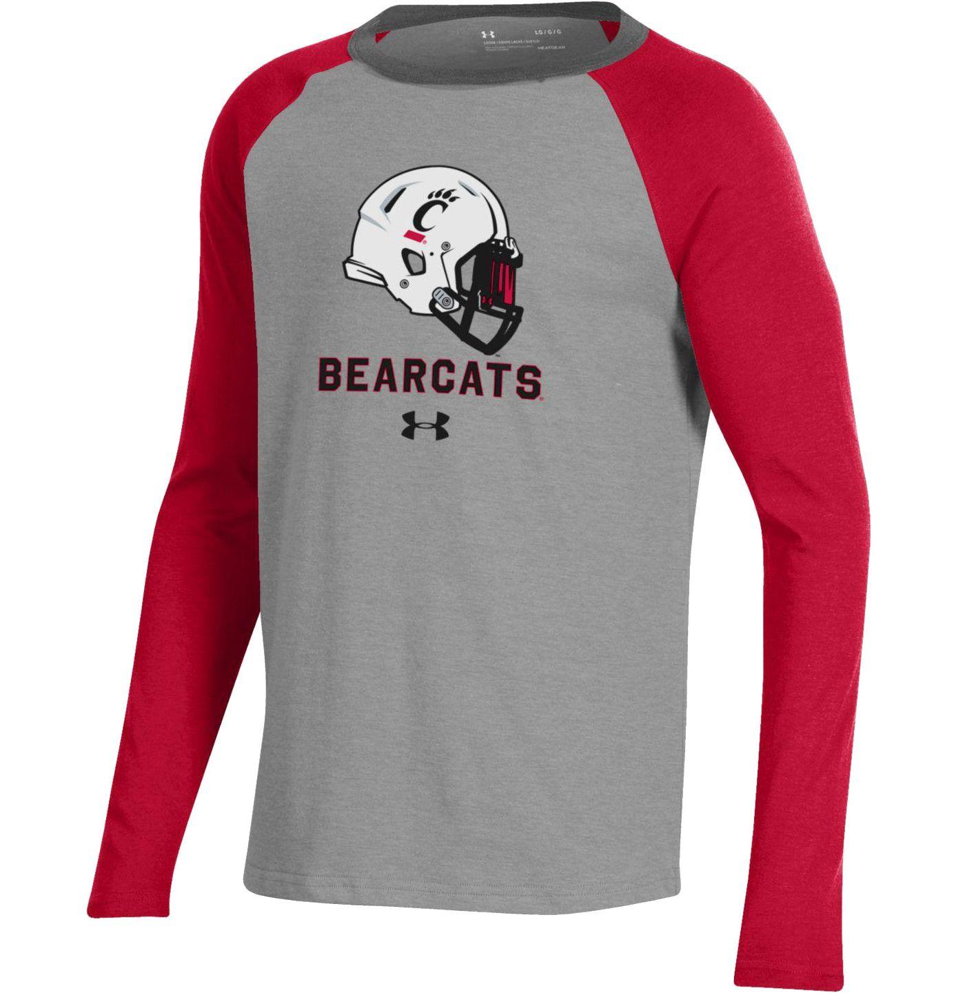 Under Armour Youth Cincinnati Bearcats Grey/Red Performance Cotton Football T-Shirt