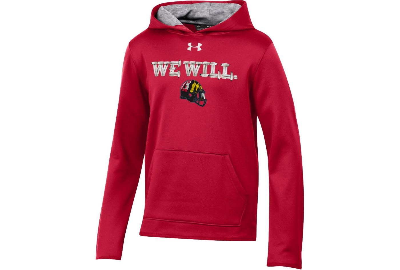 Under Armour Youth Maryland Terrapins Red 'We Will' Armourfleece Performance Football Hoodie