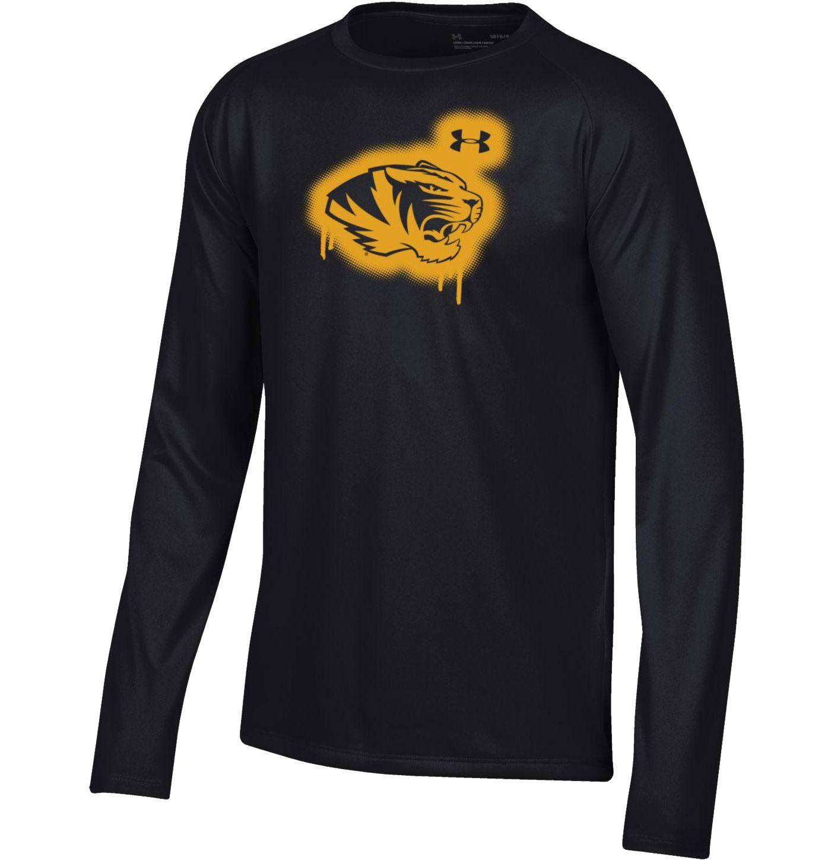 Under Armour Youth Missouri Tigers Tech Performance Long Sleeve Black T-Shirt