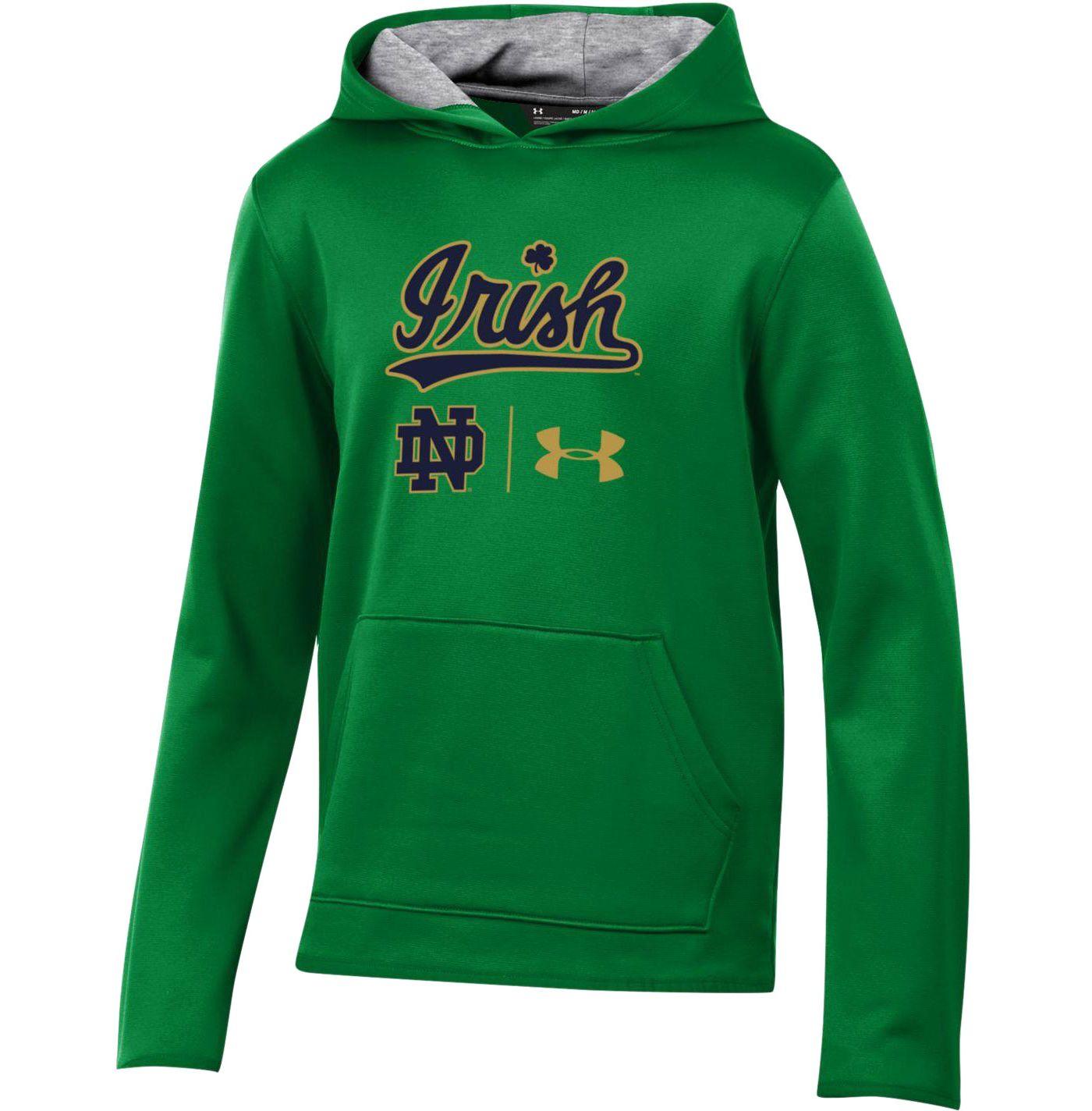 Under Armour Youth Notre Dame Fighting Irish 'Irish Wear Green' Armourfleece Pullover Performance Hoodie