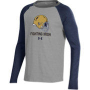 Under Armour Youth Notre Dame Fighting Irish Grey/Navy Performance Cotton Football T-Shirt