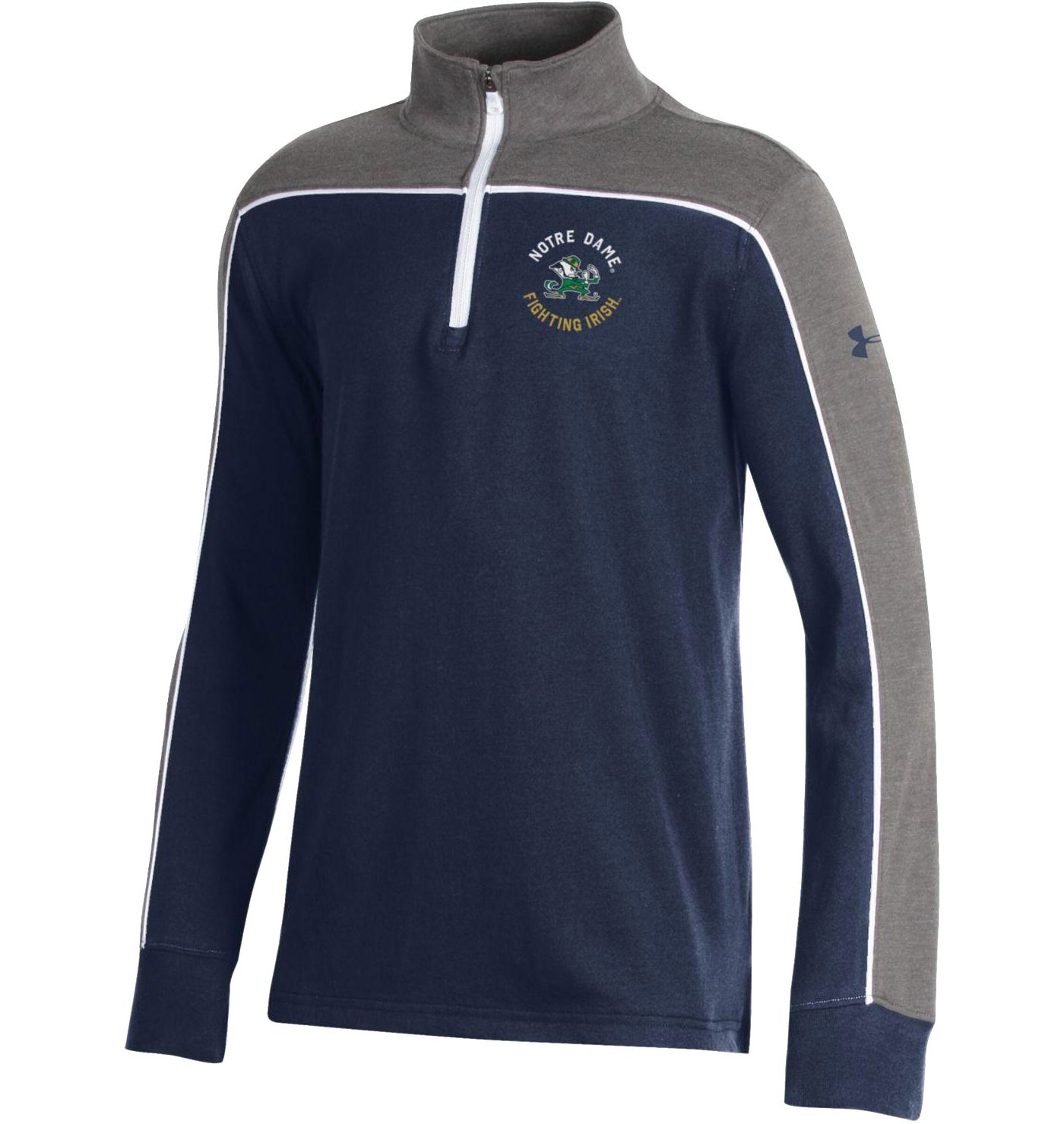 Under Armour Youth Notre Dame Fighting Irish Navy Tri-Color Charged Cotton Quarter-Zip Shirt