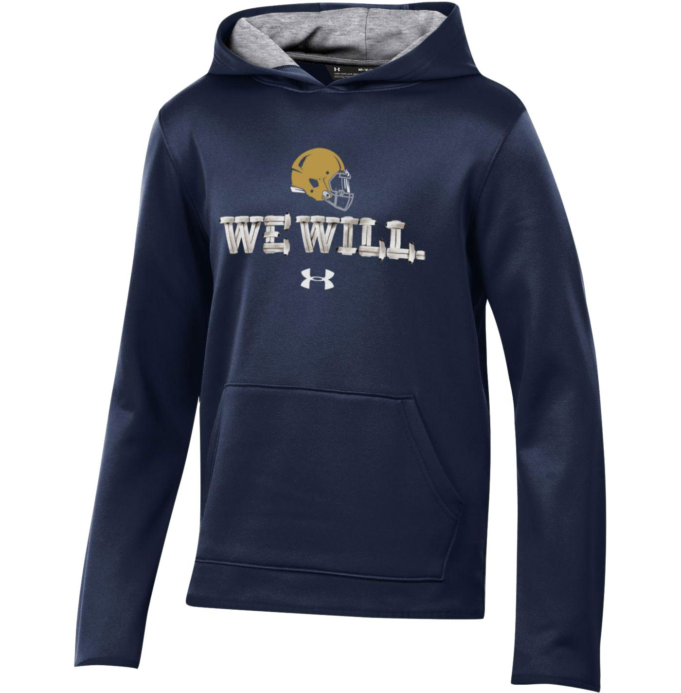 Under Armour Youth Notre Dame Fighting Irish Navy 'We Will' Armourfleece Performance Football Hoodie