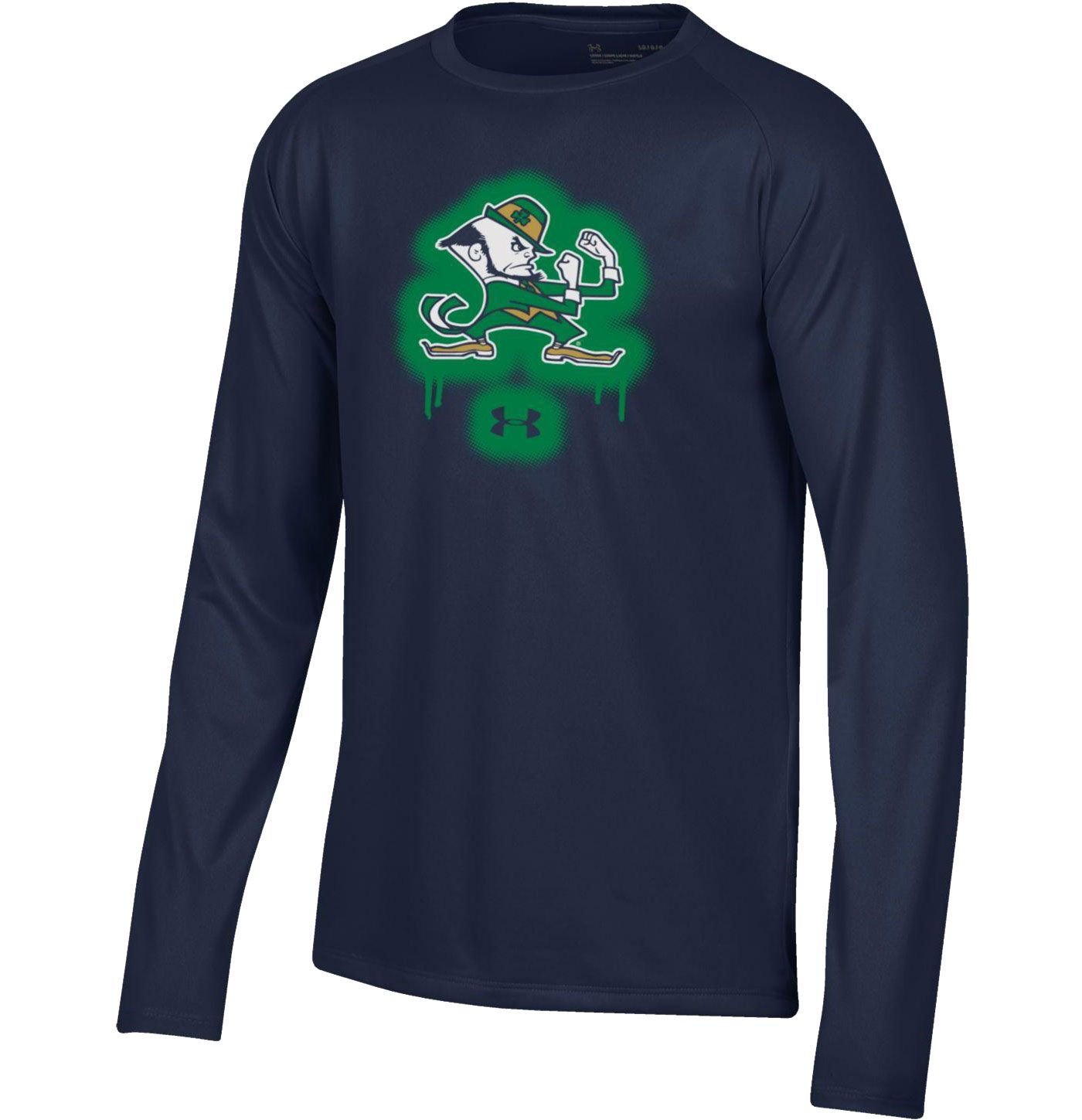 Under Armour Youth Notre Dame Fighting Irish Navy Tech Performance Long Sleeve T-Shirt