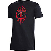 Under Armour Youth San Diego State Aztecs Performance Cotton Football Black T-Shirt