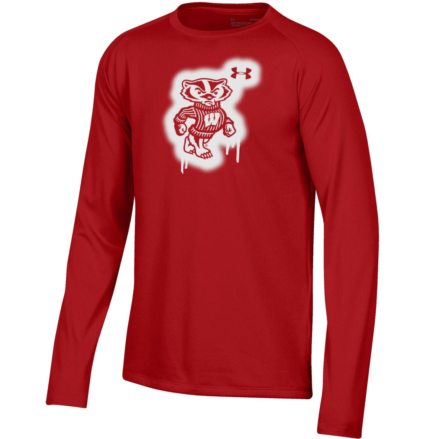 Under Armour Youth Wisconsin Badgers Red Tech Performance Long Sleeve T-Shirt
