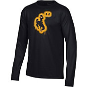 Under Armour Youth Wyoming Cowboys Tech Performance Long Sleeve Black T-Shirt