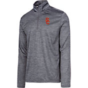 USC Authentic Apparel Men's USC Trojans Grey Whitley Quarter-Zip Shirt