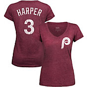 Majestic Threads Women's Philadelphia Phillies Bryce Harper Maroon V-Neck T-Shirt