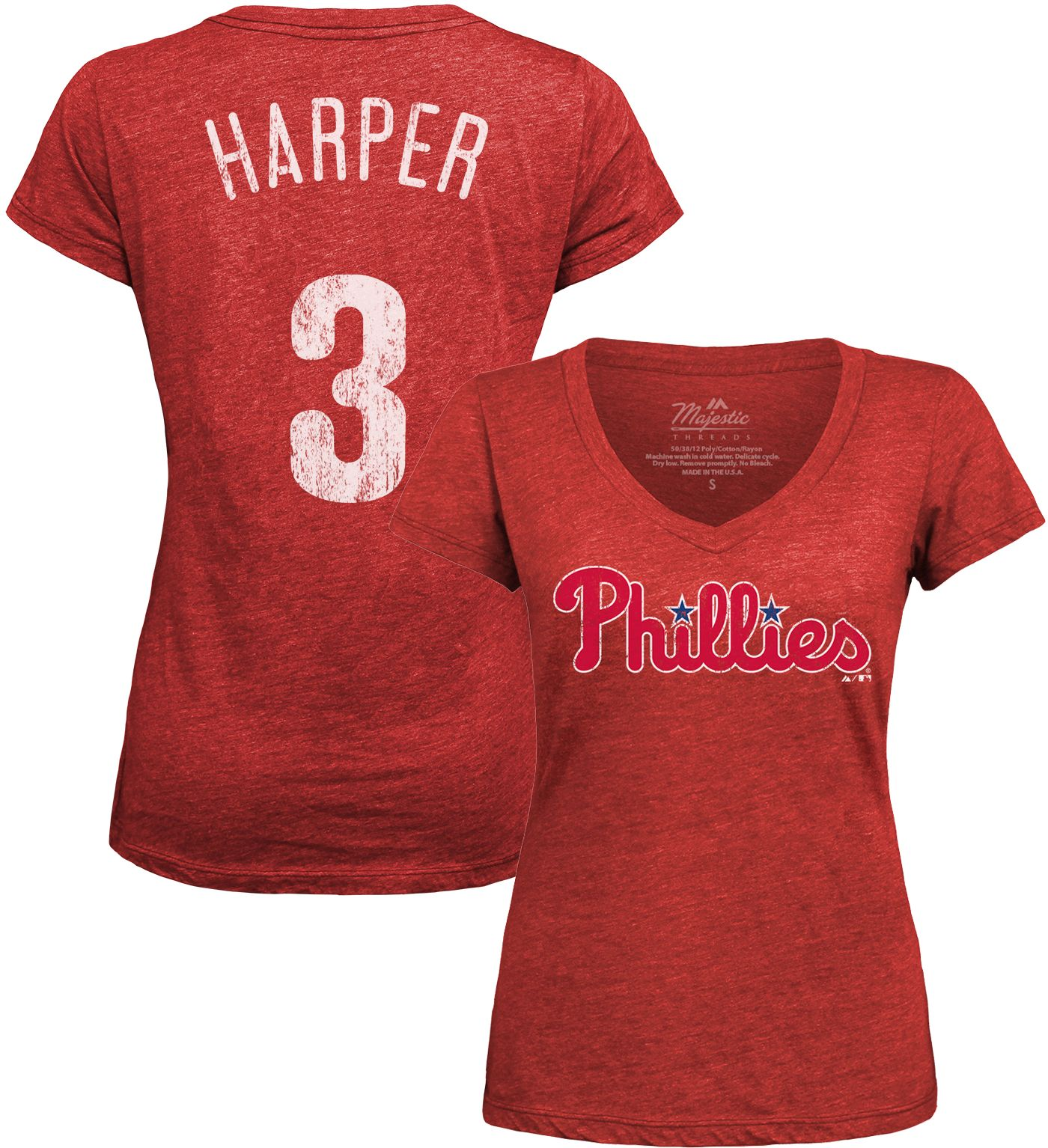 Majestic Threads Women's Philadelphia Phillies Bryce Harper Red V-Neck T-Shirt