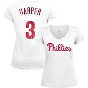 Majestic Threads Women's Philadelphia Phillies Bryce Harper White V-Neck T-Shirt