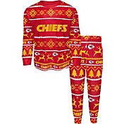 FOCO Boys' Kansas City Chiefs Wordmark Crew Pajama Set