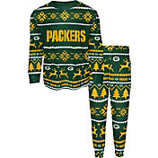 FOCO Boys' Green Bay Packers Wordmark Crew Pajama Set