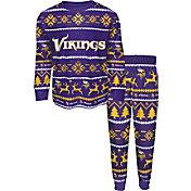 FOCO Boys' Minnesota Vikings Wordmark Crew Pajama Set