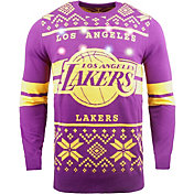 FOCO Men's Los Angeles Lakers Logo Royal Ugly Sweater