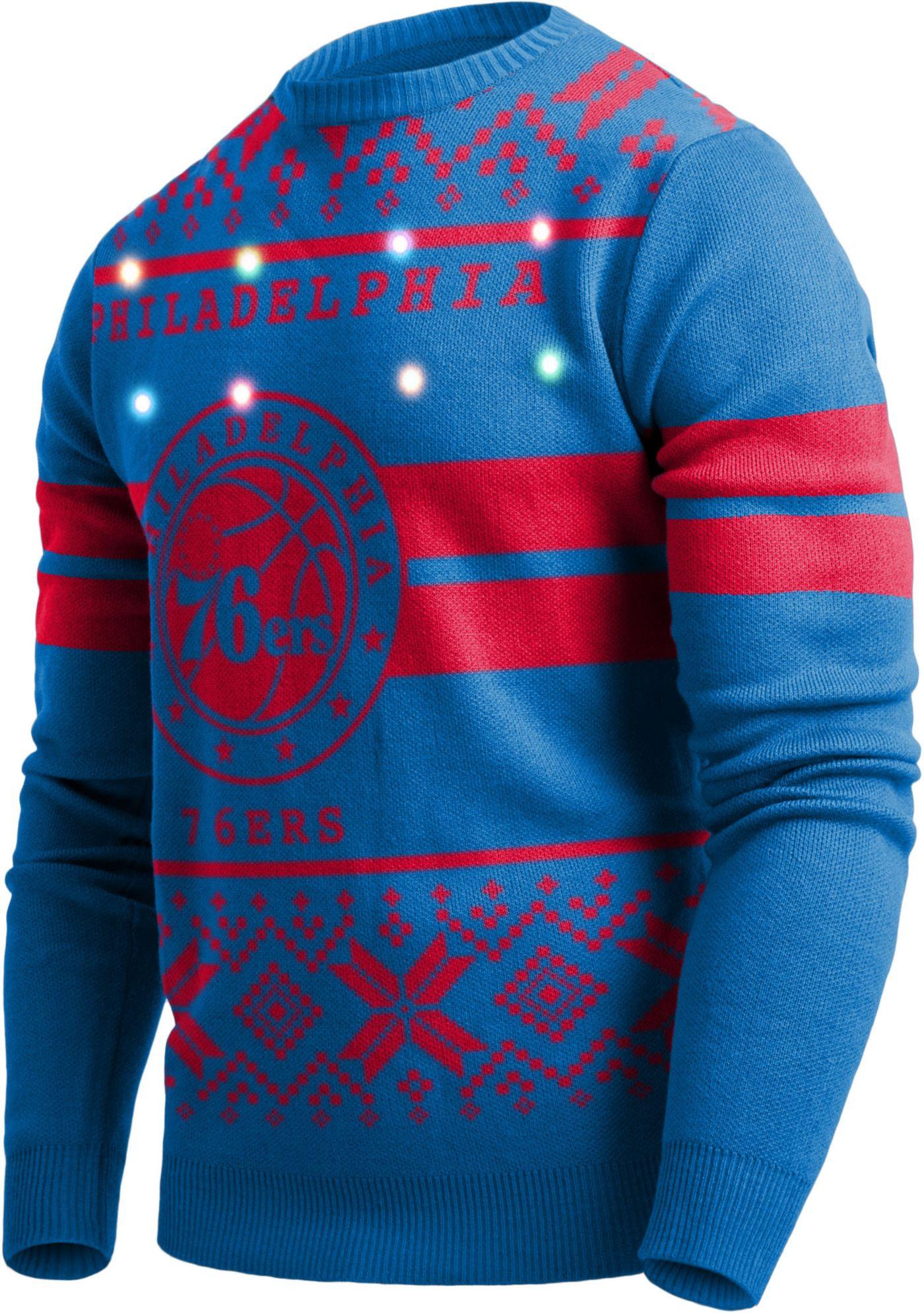 FOCO Men's Philadelphia 76ers Logo Royal Ugly Sweater