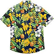 FOCO Men's Michigan Wolverines Blue Floral Button-Up Shirt