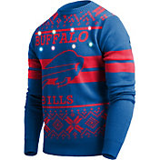 FOCO Men's Buffalo Bills Logo Stripe Light Up Royal Ugly Sweater