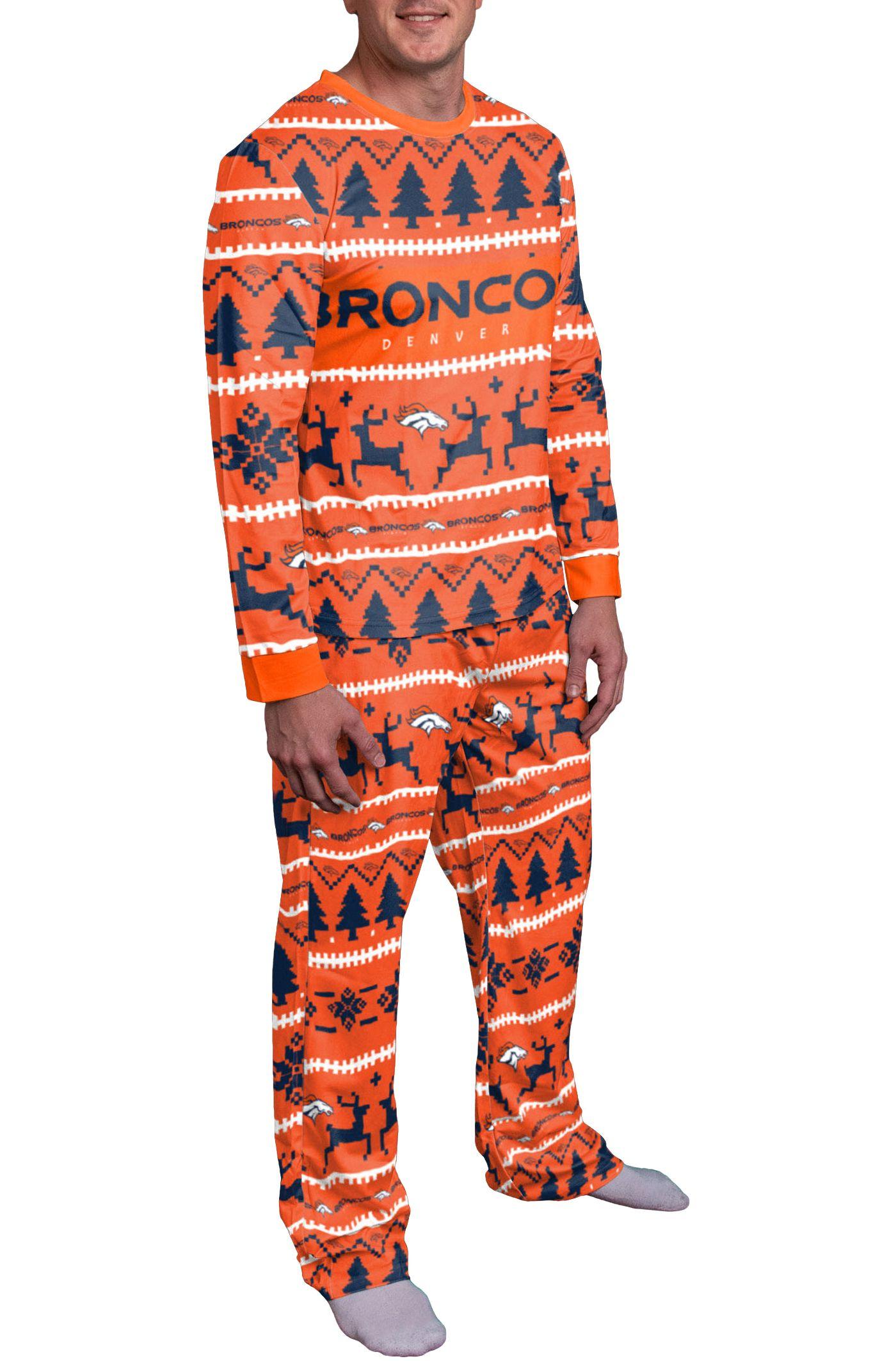 FOCO Men's Denver Broncos Wordmark Crew Pajama Set