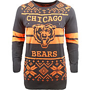 FOCO Men's Chicago Bears Logo Stripe Light Up Navy Ugly Sweater