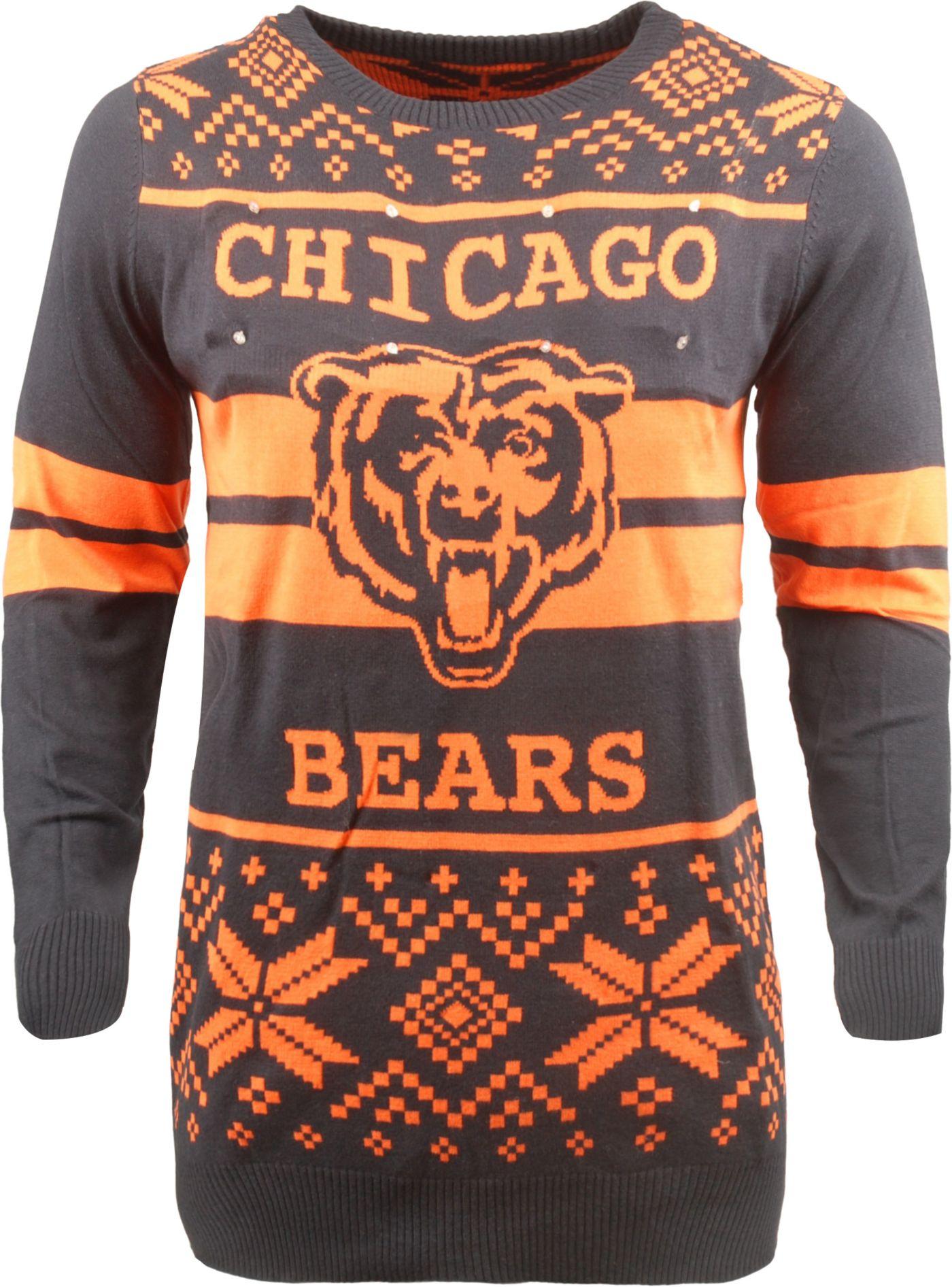 FOCO Men's Chicago Bears Logo Stripe Light Up Navy Ugly Sweater