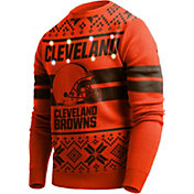 FOCO Men's Cleveland Browns Logo Stripe Light Up Orange Ugly Sweater