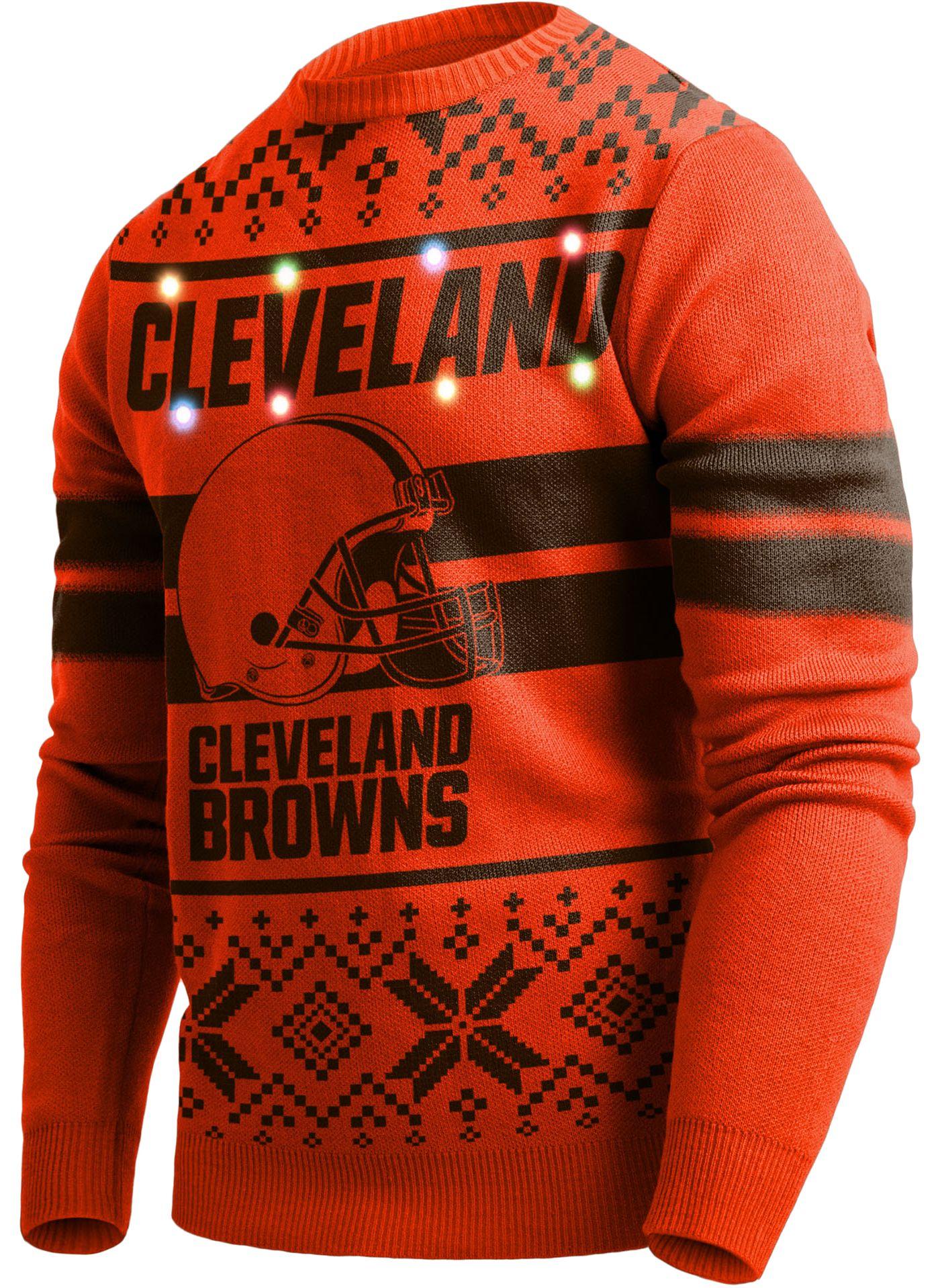 FOCO Men's Cleveland Browns Logo Stripe Light Up Orange Ugly Sweater