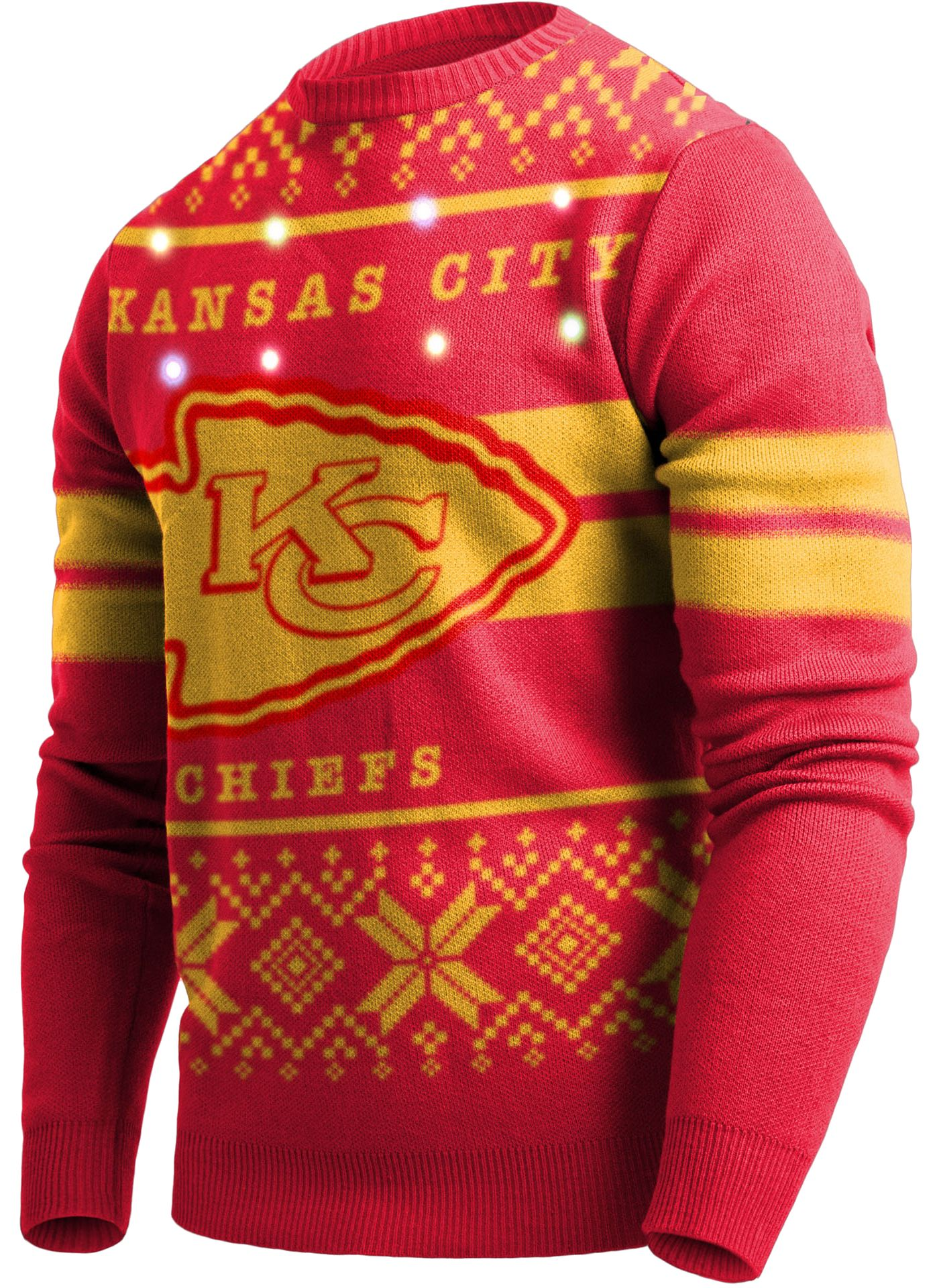FOCO Men's Kansas City Chiefs Logo Stripe Light Up Red Ugly Sweater