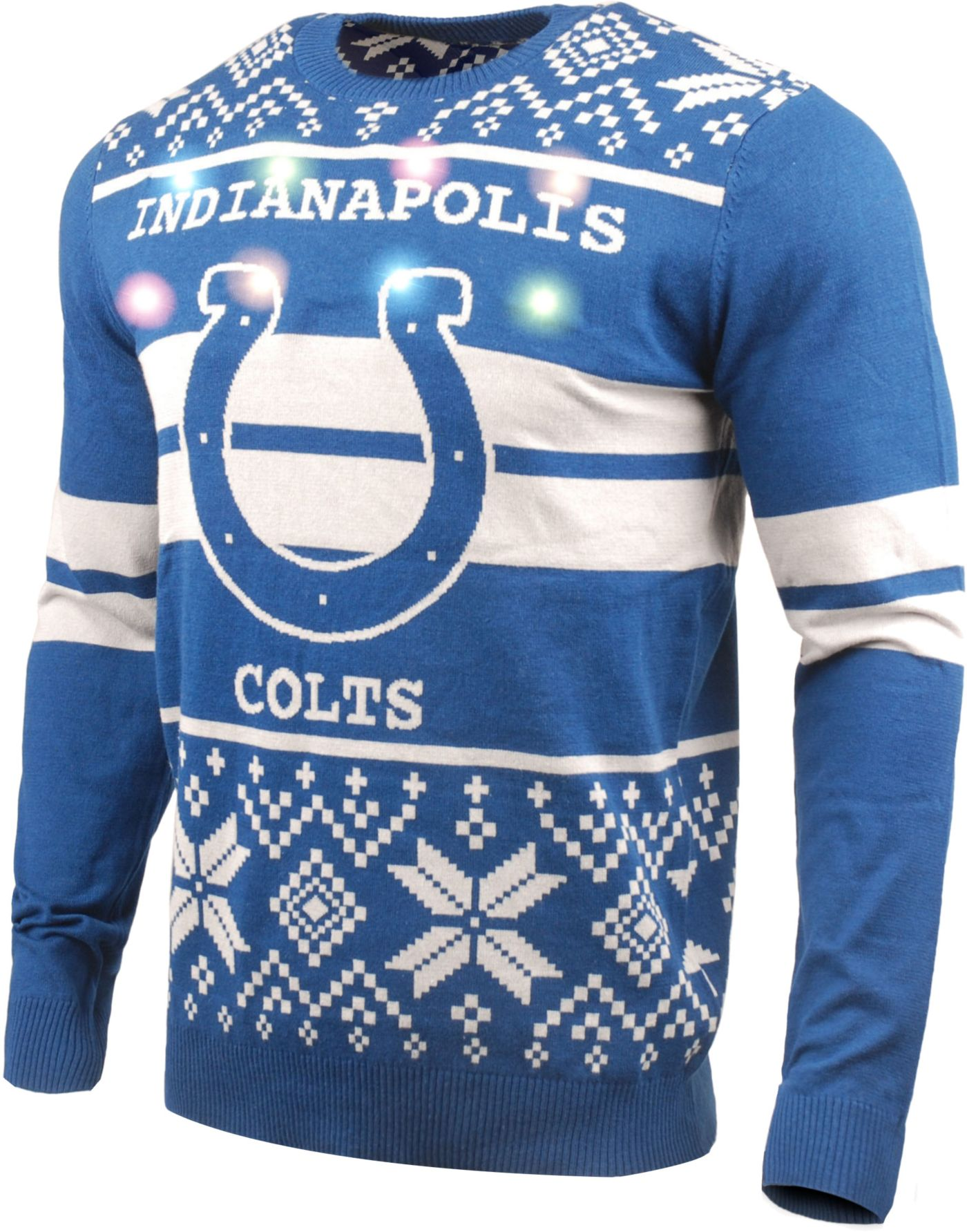 FOCO Men's Indianapolis Colts Logo Stripe Light Up Blue Ugly Sweater