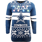 FOCO Men's Dallas Cowboys Logo Stripe Light Up Blue Ugly Sweater