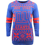 FOCO Men's New York Giants Logo Stripe Light Up Navy Ugly Sweater