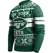 FOCO Men's New York Jets Logo Stripe Light Up Green Ugly Sweater