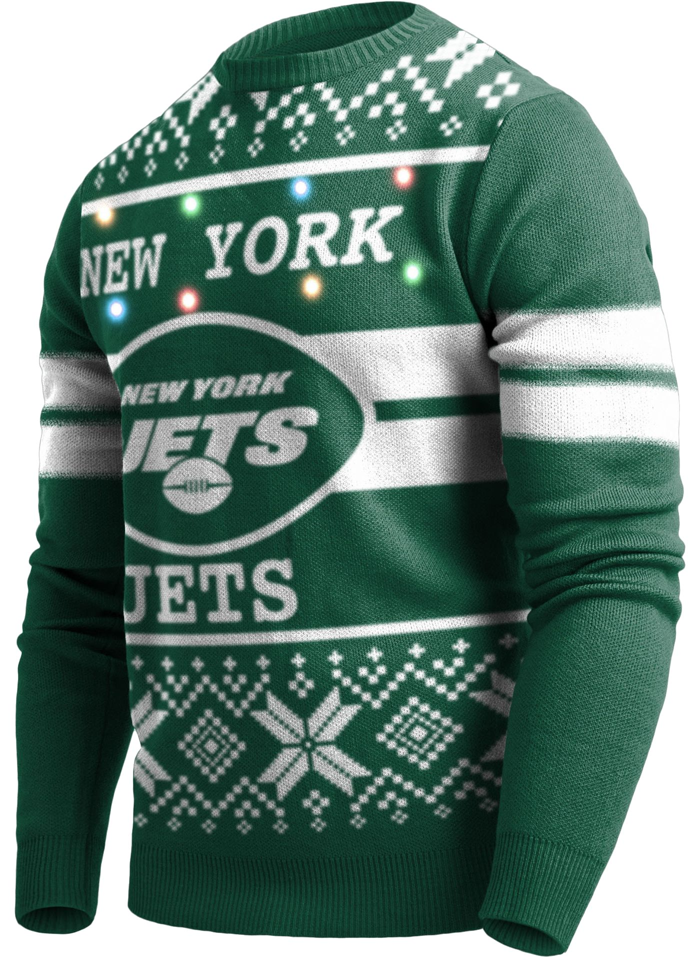 FOCO Men's New York Jets Logo Stripe Light Up Green Ugly Sweater