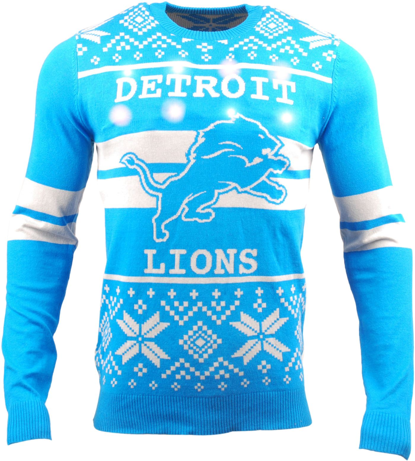 FOCO Men's Detroit Lions Logo Stripe Light Up Blue Ugly Sweater