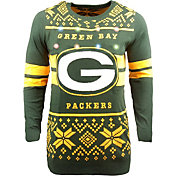 FOCO Men's Green Bay Packers Logo Stripe Light Up Green Ugly Sweater