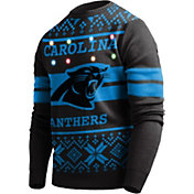 FOCO Men's Carolina Panthers Logo Stripe Light Up Black Ugly Sweater