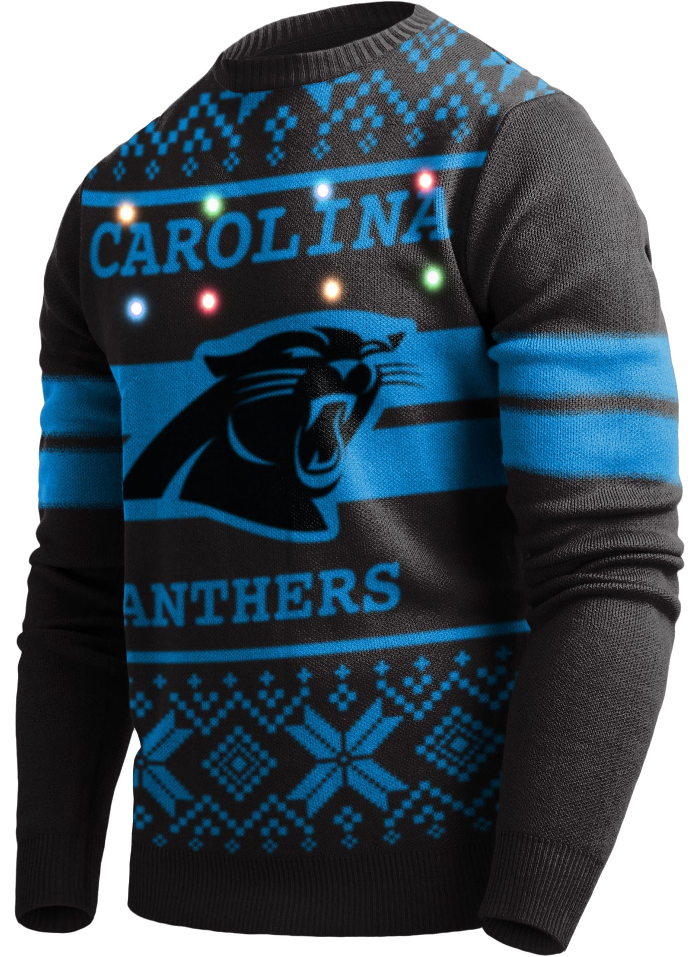 FOCO Men's Carolina Panthers Logo Stripe Light Up Black Ugly Sweater