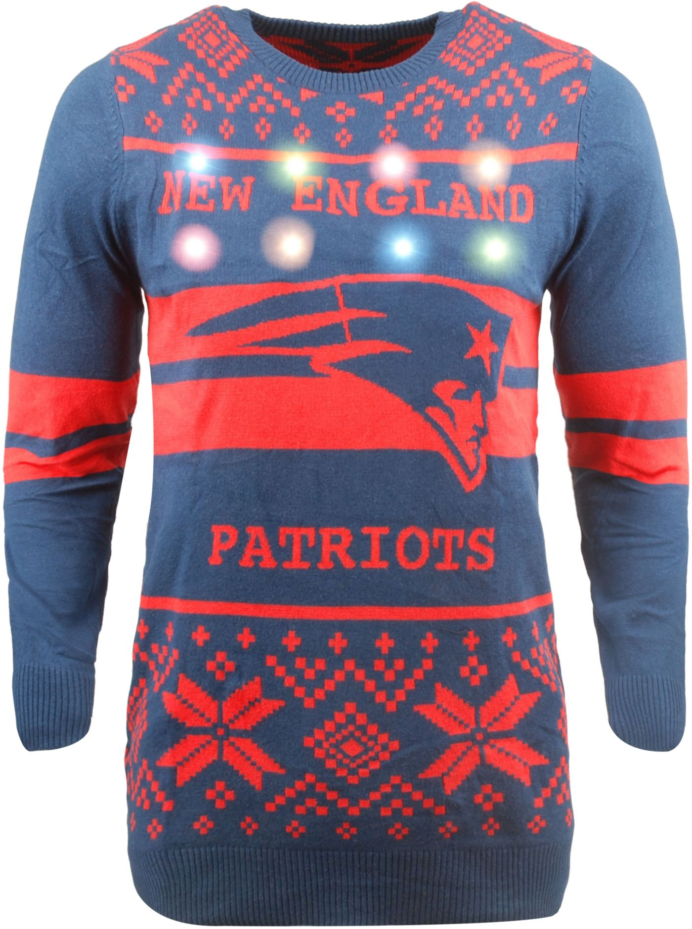 FOCO Men's New England Patriots Logo Stripe Light Up Navy Ugly Sweater