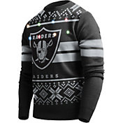 FOCO Men's Oakland Raiders Logo Stripe Light Up Black Ugly Sweater