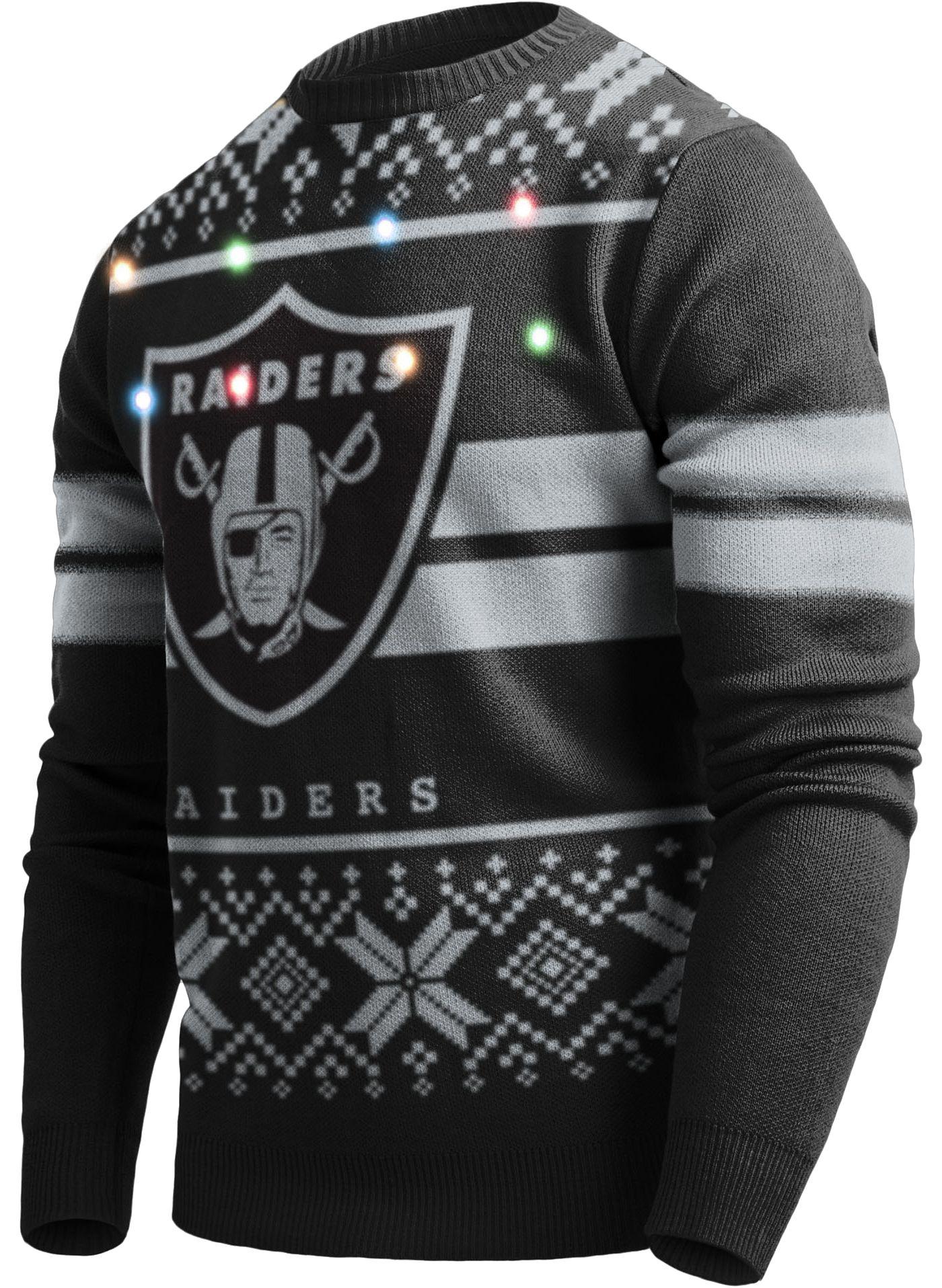 FOCO Men's Oakland Raiders Logo Stripe Light Up Black Ugly Sweater