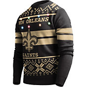 FOCO Men's New Orleans Saints Logo Stripe Light Up Black Ugly Sweater