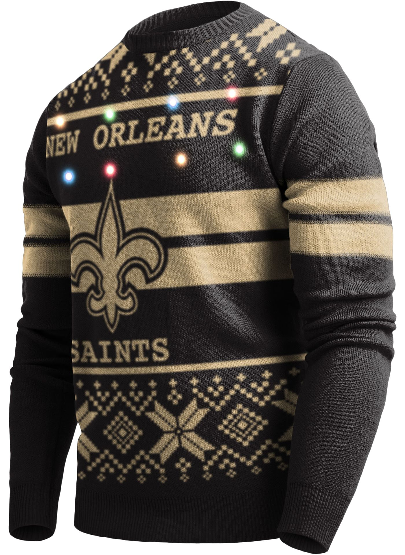FOCO Men's New Orleans Saints Logo Stripe Light Up Black Ugly Sweater
