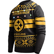 FOCO Men's Pittsburgh Steelers Logo Stripe Light Up Black Ugly Sweater