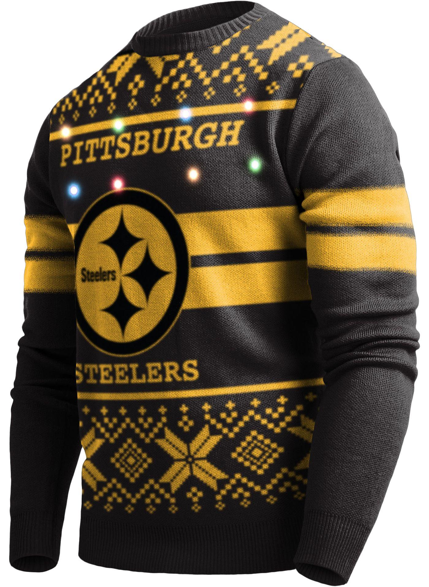 FOCO Men's Pittsburgh Steelers Logo Stripe Light Up Black Ugly Sweater