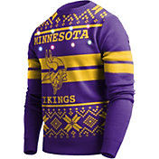 FOCO Men's Minnesota Vikings Logo Stripe Light Up Purple Ugly Sweater