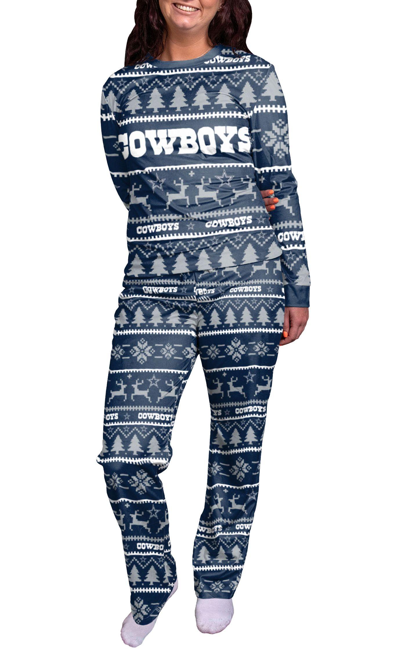 FOCO Women's Dallas Cowboys Wordmark Crew Pajama Set