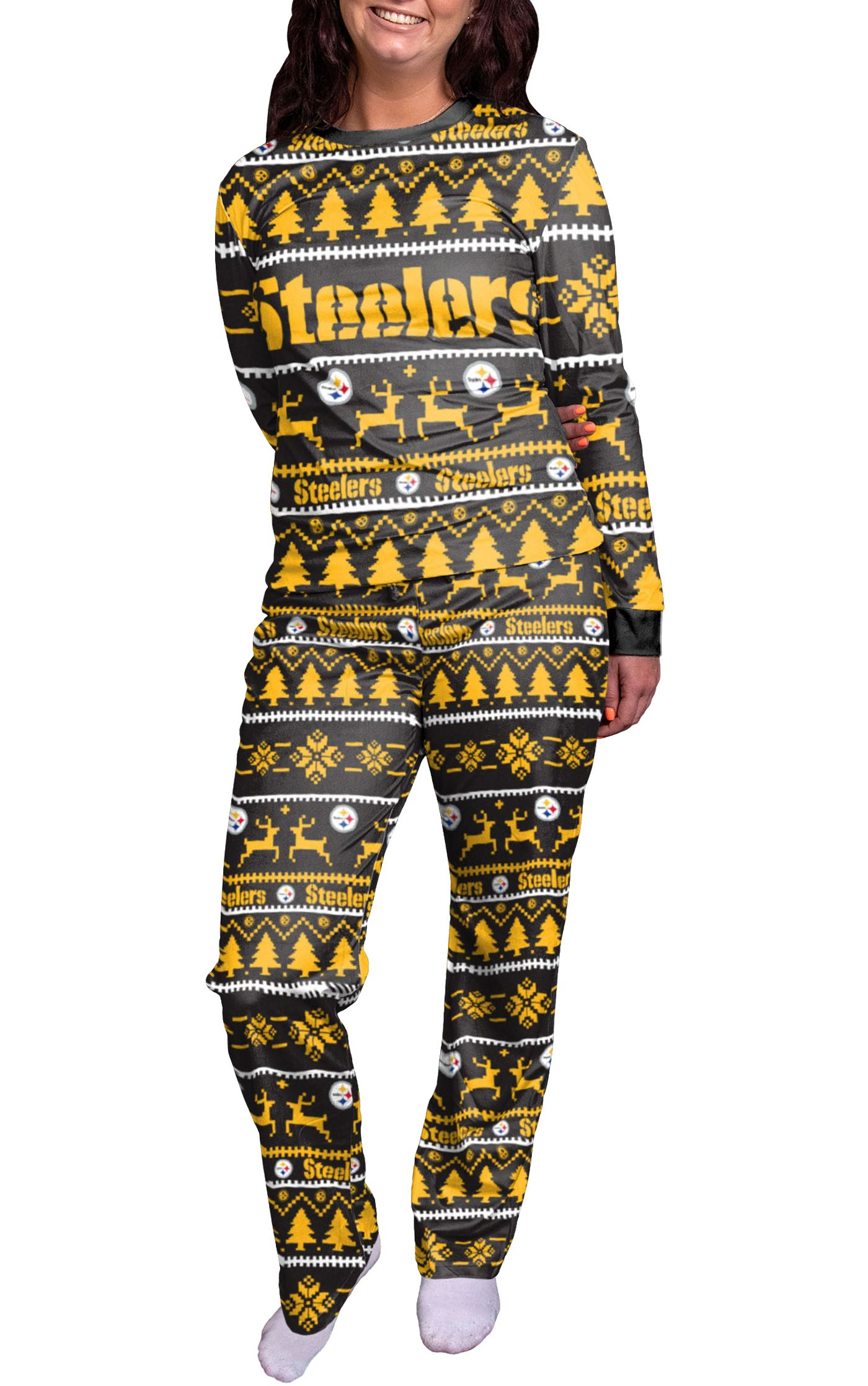 FOCO Women's Pittsburgh Steelers Wordmark Crew Pajama Set