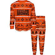 FOCO Youth Cleveland Browns Wordmark Crew Pajama Set