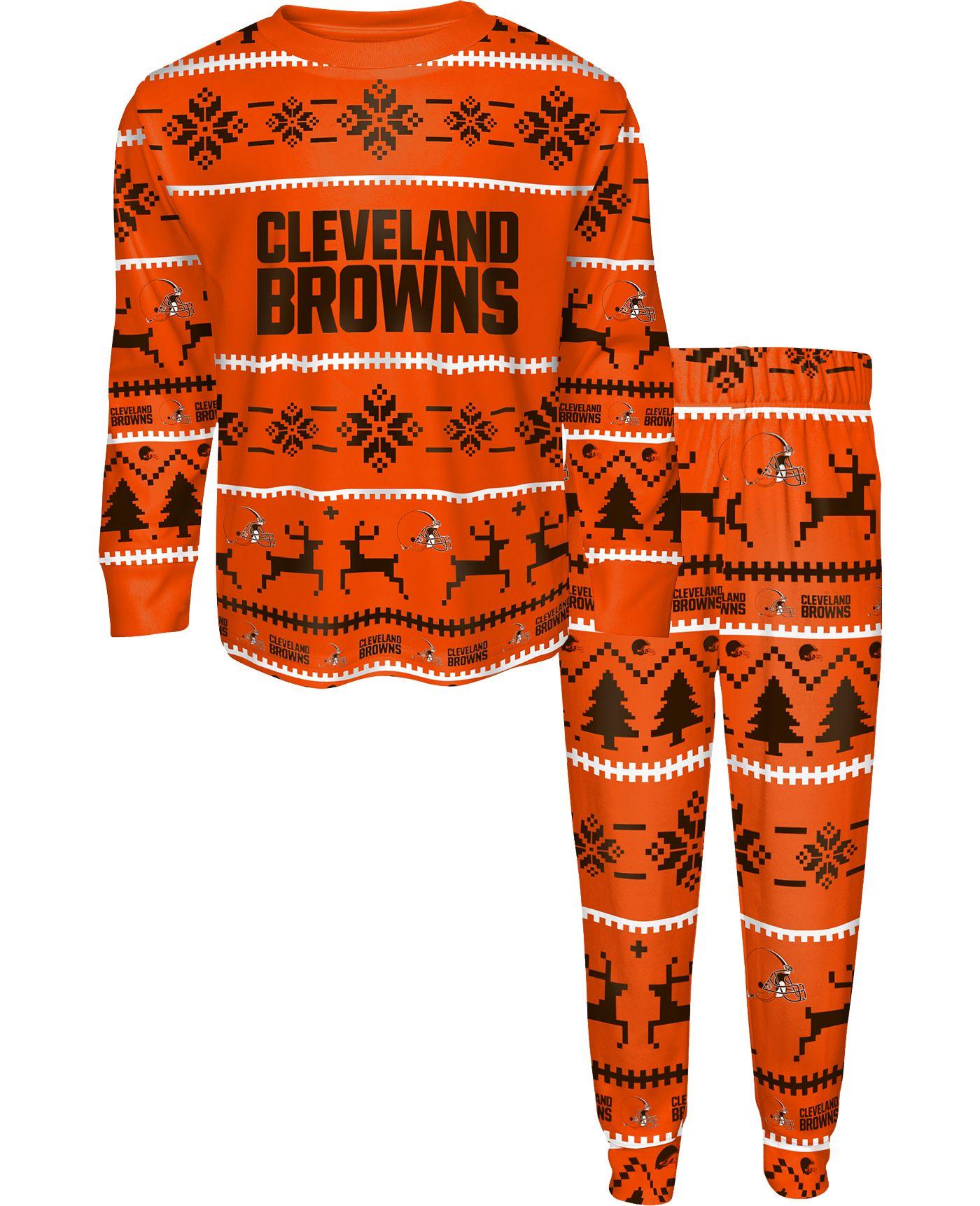FOCO Youth Cleveland Browns Wordmark Crew Pajama Set