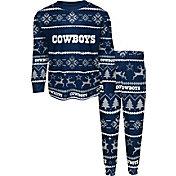 FOCO Youth Dallas Cowboys Wordmark Crew Pajama Set